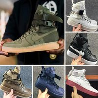 Wholesale knee high lace up - 2017 High Top Sock Boots With AirForce 1 High SF Cowhide and Canvas Outdoors Walking Shoes Autumn winter perfect neutra Knee Boots