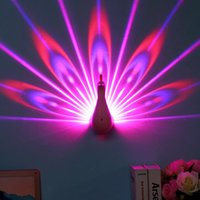 Wholesale light novelty wall online - Creative LED Peacock Light Wall Lamp Remote controlled Bedroom Background Decor Romantic Peacock D LED projection lamp novelty night light