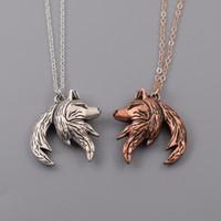 regalos entrelazados al por mayor-Collar de lobo Collar de relación Colgante de pareja entrelazada Collares de él y ella Regalos de él y ella (1 par)