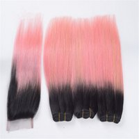 Wholesale Human Hair Straight Gold - 8A Malaysian Pink Ombre Lace Closure with Bundles Silky Straight 1B Rose Gold Pink Ombre Human Hair Weaves and Top Closure