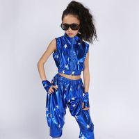 Wholesale modern stages - Stage Wear Chinese Folk Modern Hip Hop Jazz Dance Suit for Children Performance Dance wear