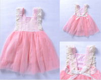 Wholesale Childrens Embroidered Clothing - Hot Sale Baby Girls Pink Dresses Childrens Wedding Tutu Dresses 2018 Kids Party Clothes Cute Lace Party Dresses Fast Shipping