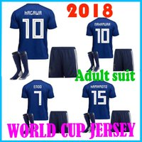 Wholesale japanese uniform blue - In 2018 World Cup football suit shirt 2018 Japanese family blue # 10 KAGAWA # 4 Honda Japan's 2018 World Cup suit soccer uniforms