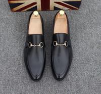 zapatos de mocasines de hombres de cuero genuino al por mayor-Zapatos de hombre de cuero genuino de lujo Casual Oxfords zapatos de los planos mocasines para hombre mocasines zapatos italianos para hombres nx17
