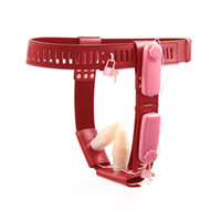 ingrosso cinghie anali-Spine doppie anali e vaginali femminili Harness Mutandine con controllo vibrante, cintura PU Cintura castità castità femminile