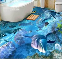 Wholesale Mediterranean Sea Painting - 3d flooring for living room and bedroom Three-dimensional marine world dolphins tropical fish sea water three-dimensional floor painting