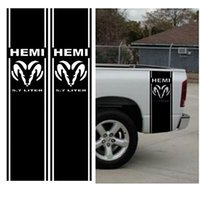 "Wholesale matte white cars - Car Styling 2pcs Set For Dodge Matte Hemi 5.7 Liter RAM Sticker decals 1500 Bed Stripe Decal Kit, 11""x46"""