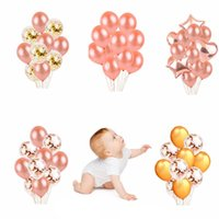 baloon dekorationen groihandel-Rose Gold Star Herz Folienballons Luft Hochzeit Ballon Helium Ballon Happy Birthday Party Dekoration Kinder Baloon Dekorationen