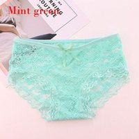 1PC Summer Green Transparent Floral Bow Low Rise Hollow Lingerie Cotton  Crotch Full Lace Briefs Women Breathable Sexy Panties dc739e3ea