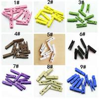 ingrosso fermagli in legno-100 pz / lotto Colorato carino piccolo clip di legno mini clip di legno 3.5 * 0.7 cm pioli per appendere vestiti carta messaggio di foto carte craft