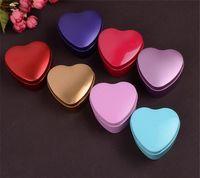 latas de metal del corazón al por mayor-MOQ 500 pcs 1 color Corazón Metal Monedas Caja de caramelo Maquillaje Joyería Caja de la lata Organizador de dulces