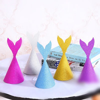Wholesale Blue Party Powder - Gold Powder Mermaid Tail Cap Multi Color Children Birthday Hat Party Decor New Arrival 1 2dy C R