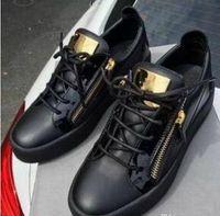Wholesale Eva Sheets - 2018 Hot Sales Fashion Brand Shoes Men Women Casual Low Top Black Leather Sports Shoes Double Zipper Flat Men Sneakers Iron Sheets Shoes