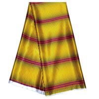 vestidos de chiffon amarelo venda por atacado-5 Metros / pc Maravilhoso amarelo impresso tecido de renda de seda chiffon africano suave e macio Rayon tecido para o vestido LBS1-5