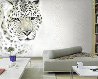 Wholesale Tiger Print Bedroom - custom 3d photo wallpaper mural living room tiger leopard fashion 3d painting sofa TV background non-woven wallpaper for wall 3d