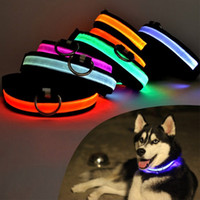 Wholesale rechargeable lighted dog collars - USB Rechargeable LED Dog Cat Collar Nylon Glow Flashing Light Up Night Safety Luminous Puppy Collars Pet Supplies