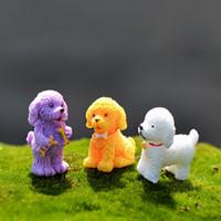 Wholesale acrylic hair ornaments - Fairy Garden Miniatures Puppy Resin Arts Crafts Curly Hair Dog Ornament Source Material Diy Landscape Micro Landscape 0 7cj C C