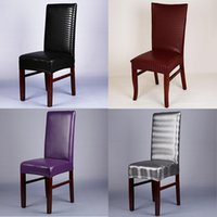 Wholesale Restaurant Machines - Leather Pu Spandex Chair Covers Machine Washable Restaurant For Weddings Banquet Stretch Hotel Dining Room Chair Cover