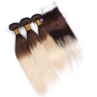 dentelle marron chocolat achat en gros de-# 4/613 Chocolat Brown et Blonde Ombre Vierge péruvienne humaine Bundles cheveux avec dentelle 4x4 Fermeture Brown Blonde Ombre Silky droite Weave