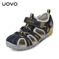 мальчики закрытые сандалии оптовых-UOVO Brand 2018 Summer Beach Sandals Kids Closed Toe Toddler Sandals Детская модельная обувь для мальчиков и девочек 24 # -38 #