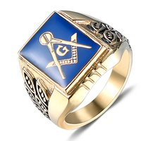 presentes dos pedreiro venda por atacado-2018 New chegou cor De Ouro Dos Homens Hip hop Anéis de Mason grátis moda de Aço Inoxidável do vintage anel Macônico presentes de jóias Hiphop masculino.