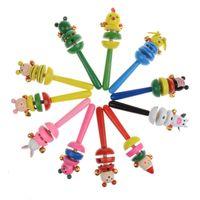 bebek müzikli hayvan toptan satış-1 Adet Bebek Çocuk Hayvan Çıngırak El Oyuncaklar Müzikal Gelişim Bebek Ahşap Oyuncak Erken Eğitim Oyuncaklar Hediye
