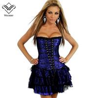 04c78a0dfe8 Wechery Steampunk Dress Modeling Corset With Skirt Waist Corset Dress  Overbust Shapewear Bustier Gothic Burlesque Corselet