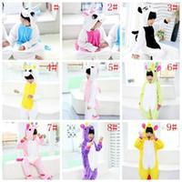 Wholesale cotton flannel nightgowns - Kids Unicorn Pajamas Flannel Animal Sleepwear Winter Children Cartoon Cosplay Oneises Baby Kids Cute Pajama Home Costum