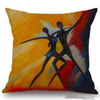 ingrosso pittura ad olio donne africane-Cuscino in stile africano Cuscino dipinto ad olio Africano Cuscino Elefante Cuscino in lino decorativo Cuscino in cotone per divano divano sedile