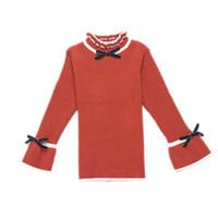 chicas vestidas de seda al por mayor-Princesa Sweater Lace Bow Girls Sweater Regalo de Navidad para adolescentes Ropa de invierno para niños Ropa
