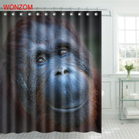 Wholesale fabric shower curtain for sale - Group buy New Design Polyester Fabric Tiger Cat Shower Curtain Orangutan Bathroom Decor Waterproof Cortina De Bano With Hooks Gift