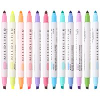 Wholesale japanese painting set - 12 Pcs lot Japanese Mildliner Pens Double Headed Fluorescent Pen Highlighter Drawing Marker Pens for Student Kids Painting Gift