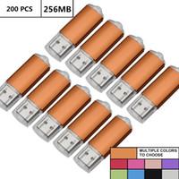 macbook orange großhandel-Orange Groß 200 STÜCKE 256 MB USB 2.0 Flash Drive Rechteck Daumen Stift Laufwerke Flash Memory Stick Speicher für Computer Laptop Tablet Macbook U Disk