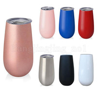 Wholesale Colored Glass Mugs - 6oz Egg Cups Wine Glasses Tumblers Stemless Stainless Steel Double Walled Vacuum Insulated Mugs With Lid Hydration Gear OOA5233