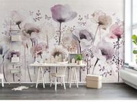 Wholesale bedroom art photos flowers for sale - 3D Abstract Purple Flower Butterfly Wallpaper Mural Wall Art Decor Floral Photo Murals Wall Paper papel de parede para quarto