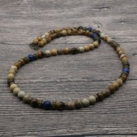 Wholesale vintage best friend necklaces - 2018 Vintage Rustic Men Beaded Necklace Natural Picasso Stone Bead Necklace For Men Tribal Jewelry Best Friend Gift SU-05