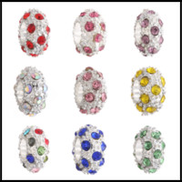 Wholesale glass sports beads - Wholesales 5mm Hole-diameter DIY Jewelry Rhinestone Alloy 11 Colors Loose Beads European Colorful Bead For Bracelets