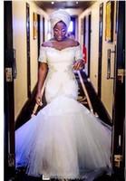 nigerianische weiße spitze prom kleider großhandel-2018 African Nigerian White Mermaid Prom Kleider Off Schulter Kurzen Ärmeln Spitze Applique Tiered Tüll Prom Abendkleider Formelle Kleidung