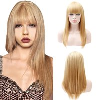 lange gerade fransenperücke großhandel-Mode Gold Haar Perücken Blonde Lange Gerade Perücke Frauen Synthetische Fringe Lange Perücken 25 zoll 2M81106