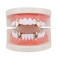 Wholesale Cheap Rose Gold Jewelry - Fantasticdreamer Single Fangs Teeth Grillz 4 Color Smooth Silver Gold Rose Gold Color Grillz Teeth Cheap Teeth Set Hip Hop Men Jewelry