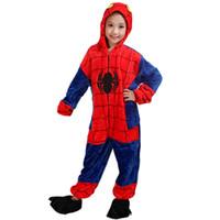spiderman 5t venda por atacado-Moda crianças de uma peça de pijama dos desenhos animados do homem aranha cosplay onesie pijama para 3-10years crianças meninos meninas macio flanela sleepwear nightwear