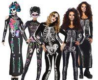 Wholesale long sleeve woman costumes online - Adult Women Halloween Day Dead Costume Ladies Bridal Long Sleeves Black Scary Skeleton Skull Joker Cosplay Dress