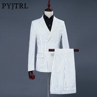 Wholesale Modern Suits For Men - PYJTRL Brand Men's Two Piece Set White Stripe Dress Suits Wedding Suits For Men Tuxedo Gentle Modern Blazer Men