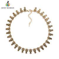 большие сексуальные украшения оптовых-SEXY WOMAN Fashion Zinc Alloy Choker Necklace Vintage Antique Gold color Big Statement Jewelry Femme Indian Accessories For Girl