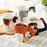 Wholesale Animal Ceramic Mugs - 3D Animal Ceramic Mug Creative Cartoon Giraffe Shape Coffee Cup Heat Resisting Children Birthday Gifts 13 5xd C R