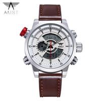 amst relojes al por mayor-2018 AMST marca reloj de cuarzo para hombres de moda LED de doble pantalla militar relojes deportivos correa de cuero simple reloj a prueba de agua 3013