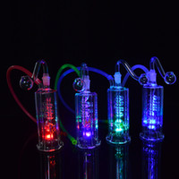 """Wholesale Hose Joints - Recycler Glass Bong LED Light Oil Rig Water Pipes Bongs Spiral Perc 4.5 inch Dab Rig 10mm Joint Hookah Mini Bongs with Banger and 20"""" Hose"""