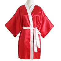 vestidos de noche de las señoras al por mayor-RED Summer Home Wear Women Sexy Night Dress Mujer Casual Kimono Albornoz Novia Dama de Honor Túnicas de la boda Lady Nightwear
