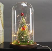 lâmpadas de mesa de casamento venda por atacado-Natal LED Mesa de Luz USB Lâmpada Decorativa Decoração de Casamento de Natal Iluminação Interior de Vidro Abajur Xmas Festival Decoração