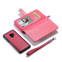 Wholesale cell phone purses cases resale online - For Samsung S9 Plus NOTE8 Detachable Leather Wallet Case Removable Purse Pouch Flip Card Back Cover Zipper Cell Phone Soft Gel Cases